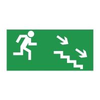 Znak  Kierunek do wyjścia drogi ewakuacyjnej w dół w prawo , 150 x 300 mm