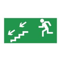 Znak  Kierunek do wyjścia drogi ewakuacyjnej w dół w lewo , 150 x 300 mm