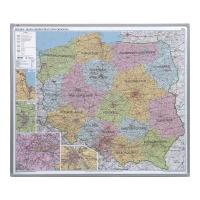 Administracyjno-drogowa mapa Polski 2x3, magnetyczna w ramie aluminiowej