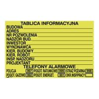 Budowlana tablica informacyjna, 700 x 450 mm