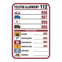 Tablica z telefonami alarmowymi