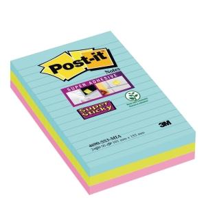 Karteczki samoprzylepne Post-It® Super Sticky w kolorach Miami, opakowanie 3 szt