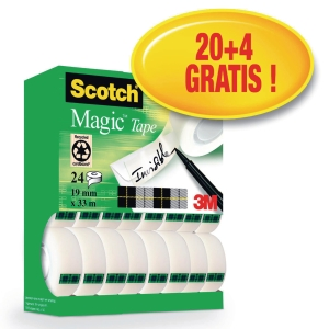 Taśma Scotch 810 magic, 19 mm x 33 m, opakowanie 20 + 4 sztuki