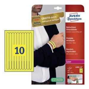 Opaski identyfikacyjne na nadgarstek Avery Zweckform 100szt. 265 x 18 mm, żółte