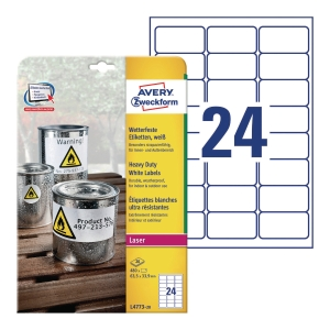 Avery L4773-20 Resistant Labels, 64.6 x 33.8 mm, 24 Labels Per Sheet