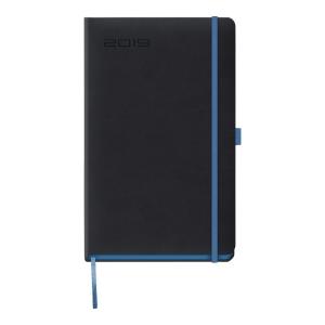 Kalendarz LEDIBERG BLACKCOLOR A5, tygodniowy, czarny z niebieskim rantem