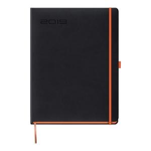 Kalendarz LEDIBERG BLACKCOLOR B5, tygodniowy, czarny z pomarańczowym rantem