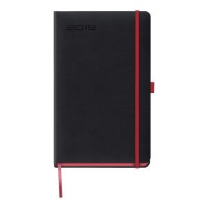 Kalendarz LEDIBERG BLACKCOLOR A5, tygodniowy, czarny z czerwonym rantem