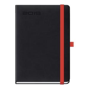 Kalendarz LEDIBERG LANYBOOK B5, tygodniowy, czarny z czerwoną gumką