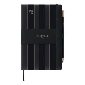 Kalendarz CASTELLI Black&Gold A5, tygodniowy, Stripes