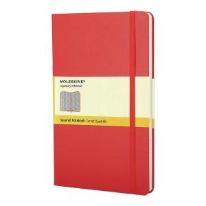 Notes Moleskine w twardej, czerwonej oprawie, rozmiar L, 240 stron w kratkę*