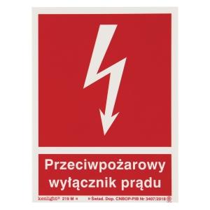 Znak  Przeciwpożarowy wyłącznik prądu , 150 x 200 (mm)