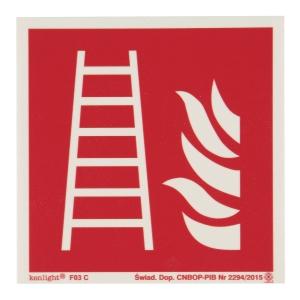 Znak  Drabina pożarowa  150 x 150 (mm)