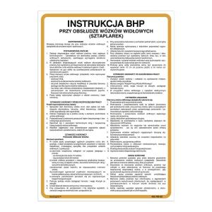 Znak  Instrukcja BHP przy obsłudze wózków widłowych (sztaplarek) , 350 x 250(mm)