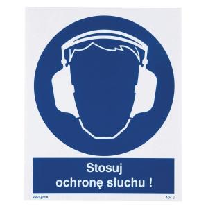 Znak  Nakaz stosowania ochrony słuchu , 225 x 275 (mm)