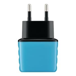 Inteligentna ładowarka sieciowa, 2xUSB, 3.1A eXc SHINE, niebiesko-szara