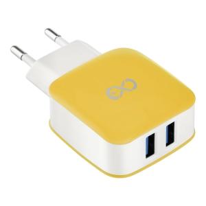 Inteligentna ładowarka sieciowa, 2xUSB, 3.1A eXc SHINE, żółto-szara