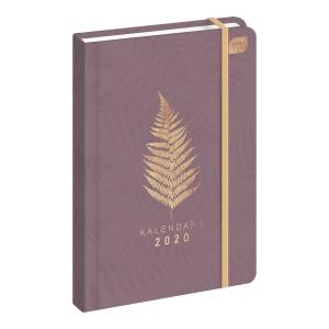 Kalendarz INTERDRUK A5, tygodniowy, koralowy ze złotym liściem