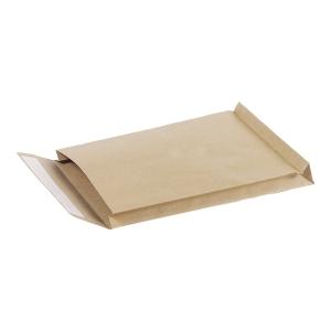 Koperty z rozszerzonymi bokami i dnem, 256x356x30 mm, brązowe, 25 sztuk