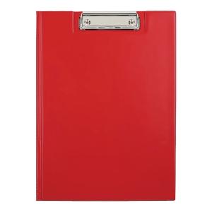 Teczka z klipem BIURFOL z wewnętrzną kieszenią na dokumenty, czerwona, A4