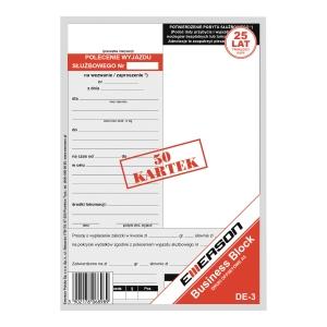 """Druk EMERSON Polecenie wyjazdu służbowego - delegacja"""" A5, 50 kartek"""