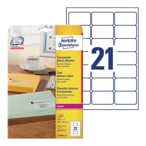 Avery L7560-25  Labels, 63.5 x 38.1 mm 21 Labels Per Sheet, 525 Labels Per Pack