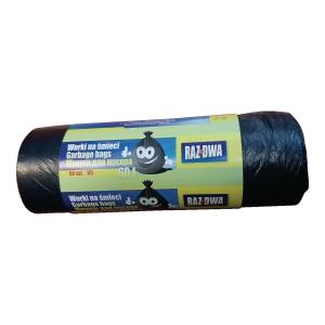 Worki na śmieci HDPE 60 l, czarne, 50 sztuk