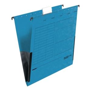 Teczka zawieszkowa FALKEN z płóciennym bokiem A4 niebieska opakowanie 25 sztuk