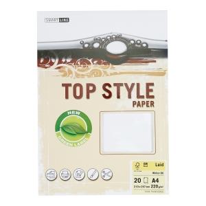 Papier ozdobny TOP STYLE Laid, kolor biały, 220 g/m², 20 arkuszy