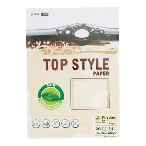 Papier ozdobny TOP STYLE Linen, kolor biały, 220 g/m?, 20 arkuszy