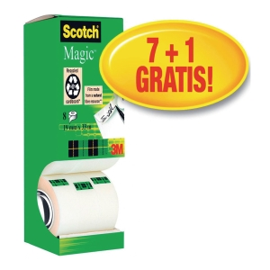 Scotch Magic Tape 19mmx33M - Pack Of 8 (Includes 1 Free Roll)