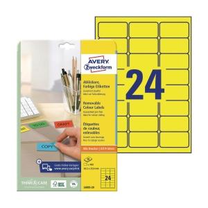 Etykiety kolorowe AVERY ZWECKFORM 63,5x33,9mm, żółte, usuwalne, 480 etykiet