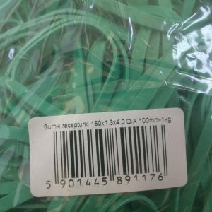Gumki recepturki średnica 100 mm, szerokość 4mm, zielone