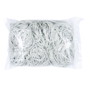 Gumki recepturki średnica 60-65 mm, szerokość 1,5 x 1,5 mm, białe