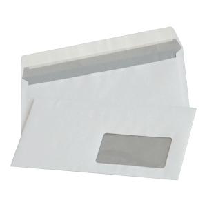 Koperty z paskiem DL NC KOPERTY, okno prawe, białe, 50 sztuk