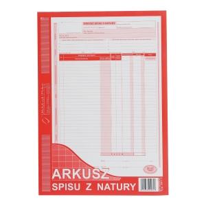 Druk MICHALCZYK&PROKOP Arkusz spisu z natury (pion) A4 (o+1k), 48 kartek