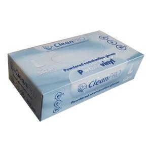 Rękawice winylowe CLEANPRO 352574 pudrowane, rozmiar L, opakowanie 100 sztuk
