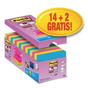 Post-it Super Sticky Z-Notes Zestaw Promo 14+2Gratis, 76x76mm, 16x90karteczek