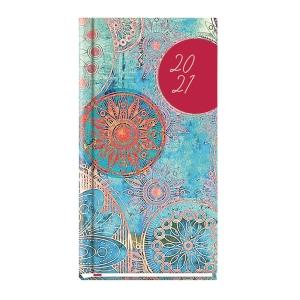 Kalendarz Michalczyk&Prokop, A6, kieszonkowy, niebieski z kwiatami