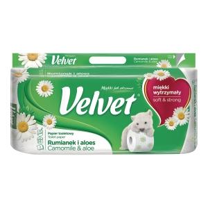 Papier toaletowy VELVET rumiankowy z aloesem, 8 rolek