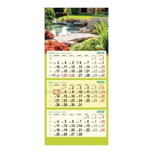 Kalendarz trójdzielny DAN-MARK, ogrody