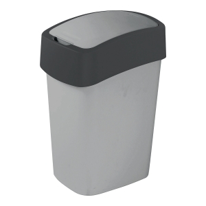 Kosz na śmieci CURVER FLIP BIN, srebrny/grafitowy, pojemność 10 l
