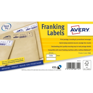 Avery Fl08 Franking Labels 155X40mm White 2 Labels Per Sheet