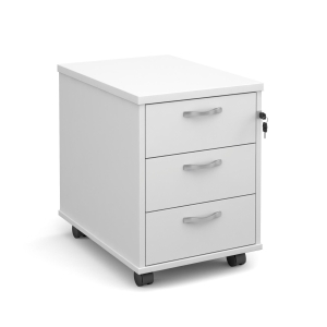 3 DRAWER MOBILE PEDESTAL 600D - WHITE