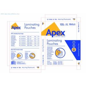 Apex Lamin Pouch Med A4 Bx100