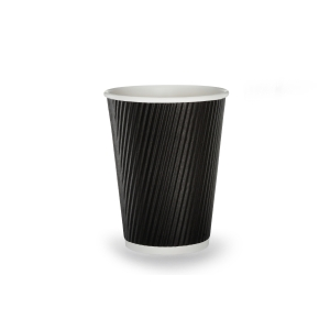 Black Ripple Wall Hot Cup 12Oz- Pack Of 25