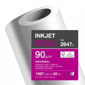 CLAIREFONTAINE 2647C I/JET PLOTTER PAPER 1067X45 90G - BOX OF 4