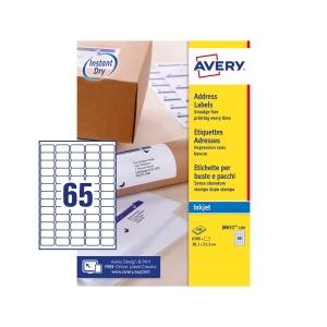 Avery J8651 Quick Dry White Inkjet Addressing Labels 38X21mm -Box Of 6500