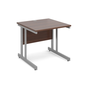 Momento Straight Desk 800mm X 800mm - Silver Cantilever Frame, White Top
