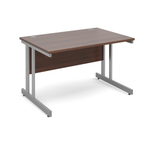 Momento Straight Desk 1200mm X 800mm - Silver Cantilever Frame, Walnut Top